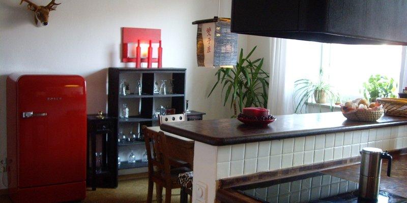 Kreative Münchner Wohnung - Küche mit Theke