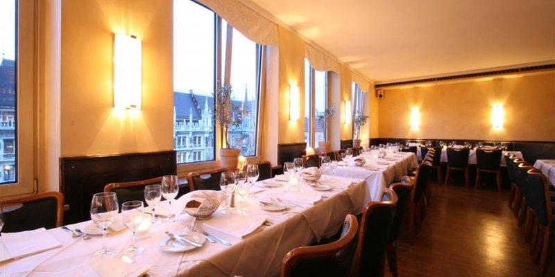 Elegant restaurant with views of City Hall