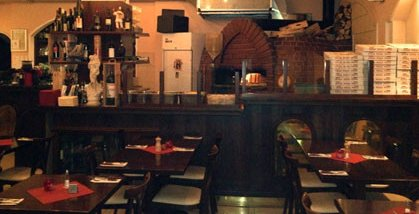 Pizzeria restaurant with wood-burning stove