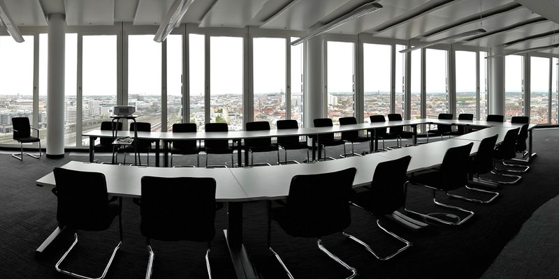 Meeting space with views of the Alps